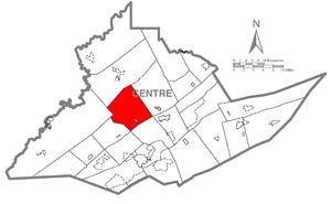Union Township, Centre County, Pennsylvania - Image: Map of Union Township, Centre County, Pennsylvania Highlighted