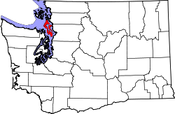 map of Washington highlighting Island County