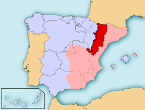 Regional Defence Council of Aragon - Territory controlled and administered by the CRDA (in red) within Republican Spain (in pink)