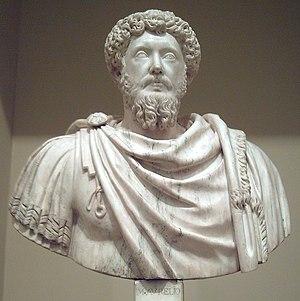 Bust of Roman emperor Marcus Aurelius (121–180...