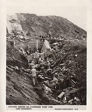 23rd Marine Regiment (United States) - Culvert serves as command post for 23rd Regiment on Iwo Jima