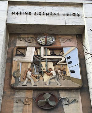 Marine Firemen's Union - Bas-relief by Olof Carl Malmquist on the Marine Firemen's Union building.