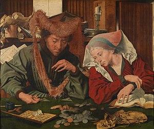 Marinus van Reymerswaele - The moneychanger and his wife (1539), Museo del Prado, Madrid