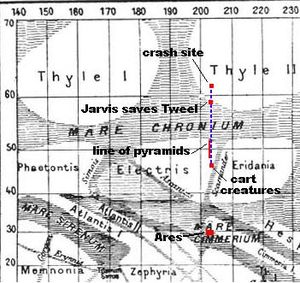 """A Martian Odyssey - Dick Jarvis' journey across Mars in """"A Martian Odyssey"""" (south is at the top of the map)."""