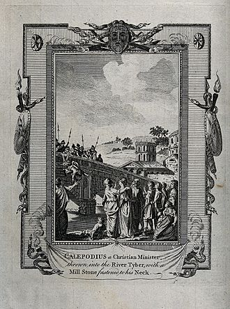 Persecution of Christians in the Roman Empire - Martyrdom of Calepodius, a Christian minister. Engraving. Wellcome V0031764