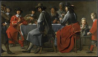 Gathering of Gamblers with Hurdy-Gurdy Player