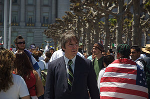 Matt Gonzalez - Gonzalez at a Day Without an Immigrant rally in San Francisco