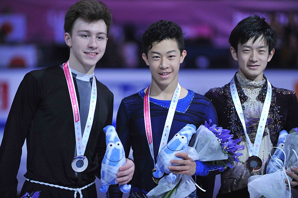 Medalists of 2015 JGPF - Nathan Chen, Dmitri Aliev, Sōta Yamamoto (photo by Susan D. Russell)