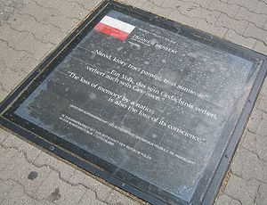 "Zbigniew Herbert - ""The loss of memory by a nation is also a loss of its conscience"" (Herbert). Plaque at Mehringplatz, Berlin."