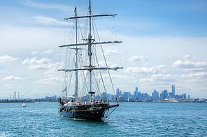 STS Young Endeavour - Young Endeavour off Melbourne in 2013
