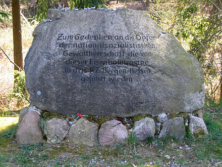 A memorial stone erected near the ramps where prisoners for Belsen were unloaded from goods trains Memorial stone at Bergen ramps.jpg