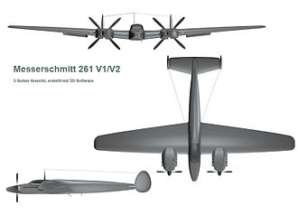 Messerschmitt Me 261 - 3D computer generated view of the Me 261 from the top, front and left sides.