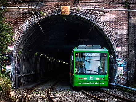 Sydney's Dulwich Hill Line is mostly situated on segregated tracks along a former heavy rail corridor Metro Light Rail Glebe Tunnel Entrance.jpg