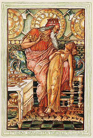 Midas - In the Nathaniel Hawthorne version of the Midas myth, Midas's daughter turns to a golden statue when he touches her. Illustration by Walter Crane for the 1893 edition.