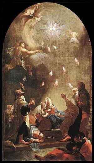 Josef Ignaz Mildorfer - Pentecost byJosef Ignaz Mildorfer, Hungarian National Gallery, 1750s