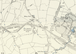 Mill Hill East tube station - Mill Hill station on an 1890s Ordnance Survey map