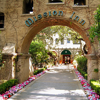 Mission Revival architecture - The Mission Inn entry portal, in Riverside, Southern California