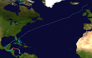 Meteorological history of Hurricane Mitch - Image: Mitch 1998 track