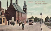 Mitcham , South London, located within the London Borough of Merton,1900-1910s Vestry Hall & Tram Terminus.jpg