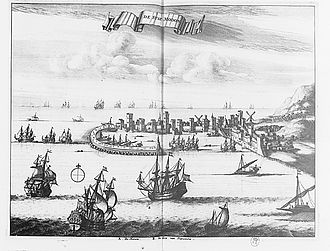 Morean War - VIew of the fortress and harbour of Modon in 1688