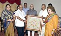 "Mohd. Hamid Ansari being presented a memento ""'Chamba Rumaal"" by the Governor of Himachal Pradesh, Shri Kalyan Singh, in Shimla, Himachal Pradesh on June 10, 2015. Smt. Salma Ansari and other dignitaries are also seen.jpg"
