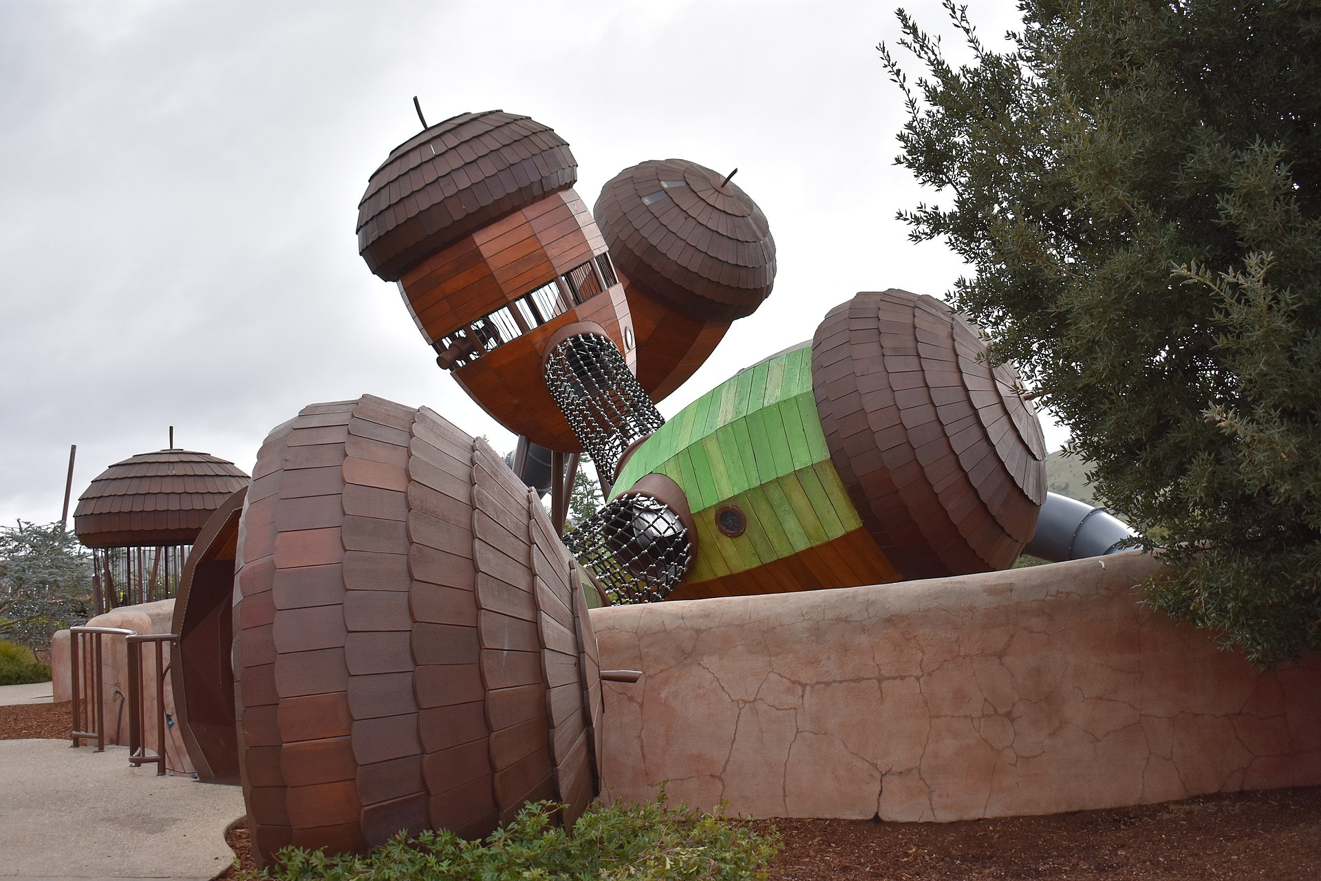 the big acorns in ACT. a big playground with giant acorns wooden structures
