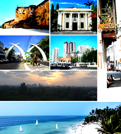 Clockwise: Fort Jesus, Mombasa Toun Haw, Mombasa Auld Toun, Nyali beach, Mombasa Sunset Panorama, Moi Avenue (Mombasa) shawin the elephant tusks in the Avenue an Downtown Mombasa.