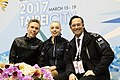 Monica Lindfors, Juho Pirinen and Maurizio Margaglio at the 2017 Junior World Championships.jpg