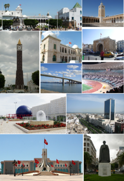 "Top left: View of Avenue Habib Bourguiba, Top middle: Ibn Khaldoun statue in Avenue Habib Bourguiba, Top right: Théâtre municipal de Tunis, 2nd left: View of Carthage district from the Punic ports, 2nd middle: ""Ville nouvelle"" district near Bab el Bhàr, 2nd right: Tunisia Planetarium Observatories and Science Centers, 3rd left: View of Hedi Nouira avenue in Ennasr district, 3rd middle: Ezzitouna Mosque, 3rd right: Sea-front view from Sidi Bou Said district"