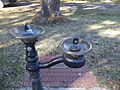 Monticello drinking fountain and named bricks.JPG