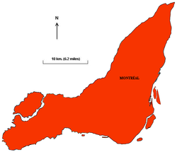 The political boundaries on the Island of Montreal after the merger of the independent municipalities into the City of Montreal (500 km2 or 193 sq mi).  sc 1 st  Wikipedia & History of Montreal - Wikipedia memphite.com