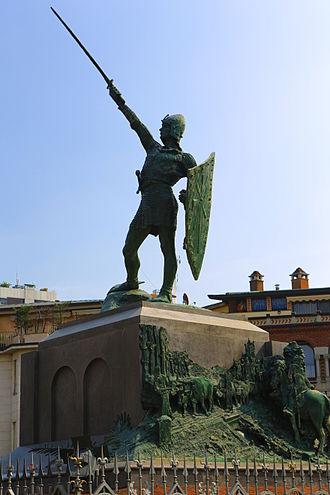 "Battle of Legnano - Monument to the ""Warrior of Legnano"", often mistakenly attributed to Alberto da Giussano in Legnano, Milan province"