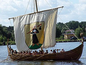 Viking ships - A modern replica of a Viking ship. This ship is of the Snekkja longship type.