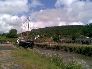 Morwellham Quay - The Great Dock and the restored Tamar sailing ship Garlandstone.