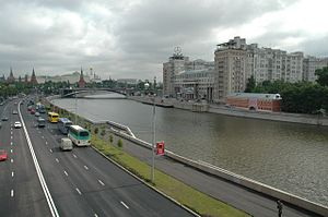 Moskva River - Moskva River in central Moscow, view towards the Kremlin