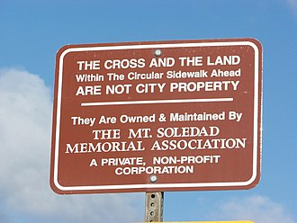 Mount Soledad Cross lawsuits - Sign at the entrance to Mount Soledad