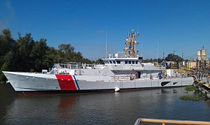 Moving the USCG Richard Etheridge to another mooring as her final equipment is added.