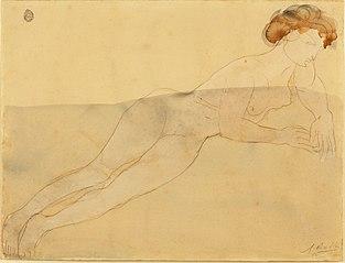 Estudio de desnudo, Mujer desnuda recostada (Femme nue allongée)