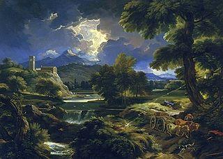 Landscape with a storm (detail).