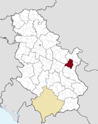 Location of the municipality of Bor within Serbia