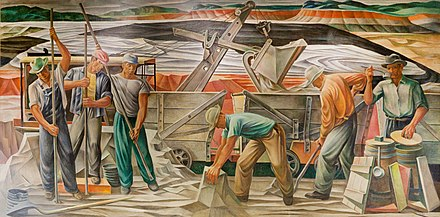 """The Bauxite Mines"" (1942) by Julius Woeltz, originally displayed in the U.S. Post Office in Benton and now located in the Saline County Courthouse Mural-Post-Office-Benton-Arkansas.jpg"