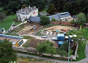 Stroud - Kite aerial photograph of the restoration of the walled garden at the Museum in the Park.