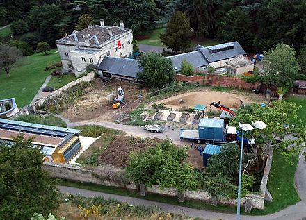 Kite aerial photograph of the restoration of the walled garden at the Museum in the Park. Museum in the Park, Stroud.jpg