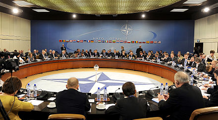Out of the 28 EU member states, 22 are also members of NATO. Another three NATO members are EU applicants - Albania, Montenegro and Turkey. NATO Ministers of Defense and of Foreign Affairs meet at NATO headquarters in Brussels 2010.jpg