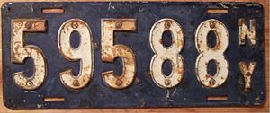 Vehicle registration plates of New York - Image: NEW YORK 1910 LICENSE PLATE FIRST GOV'T ISSUE rivited numbers Flickr woody 1778a