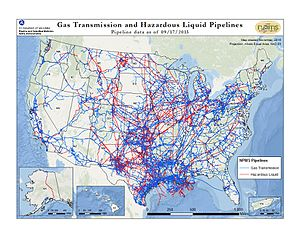 Pipeline and Hazardous Materials Safety Administration - A map of pipelines in the United States as of September, 2015. Red is hazardous liquid pipelines, including crude oil.