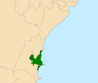 Electoral district of Wollongong - Location in the Illawarra region
