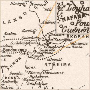 "Map of two dozen locations in half a dozen regions. The central region's name, ""NAFANA"", is magnified in an inset. Other region names include ""ABRON"" and ""NTAKIMA""; location names include ""Bondoukou"", the largest location in the NAFANA region."