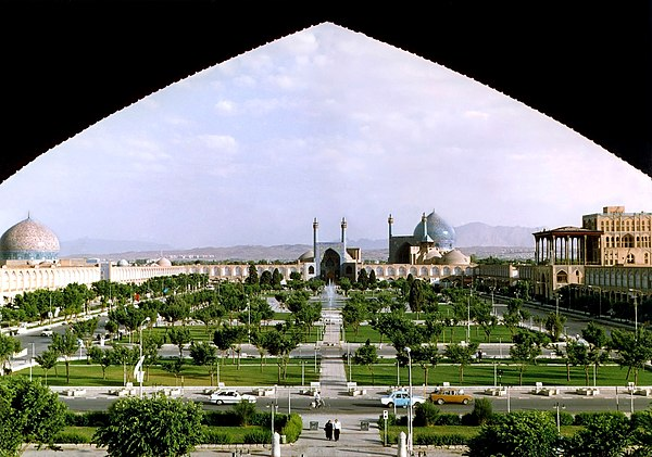 Naqsh-e Jahan Square in Isfahan is the site of a medieval royal polo field. Naghshe Jahan Square Isfahan modified.jpg
