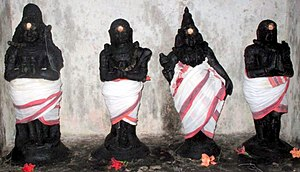Tevaram - The 3 foremost Nayanars with Manikkavasakar - collectively called the Nalvars: (from left) Sambandar, Tirunavukkarasar, Sundarar, Manikkavacakar.